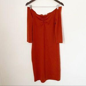 NWOT Zara Maroon off the shoulder midi dress